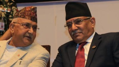 Ruling NCP chairmen Oli, Prachanda hold discussions