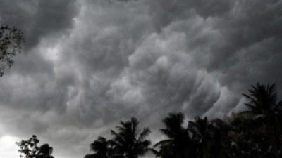 Westerly wind causing light rainfall in hilly regions