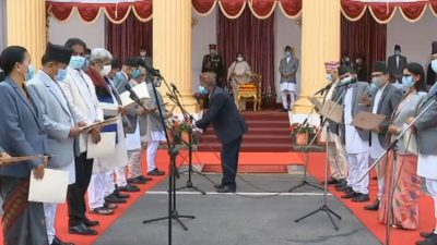 President administers oath to PM Oli for third stint
