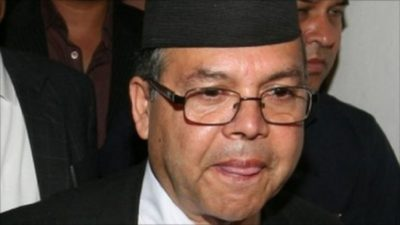 Leader Khanal undergoing treatment with oxygen support