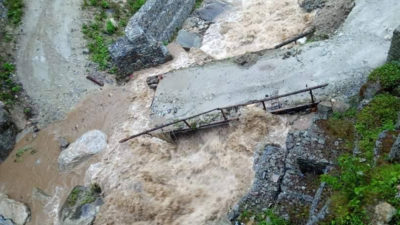 Landslide blocks Marsyangdi river, poses risk to settlement