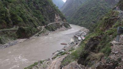 Flood sweeps away Karnali bridge construction materials